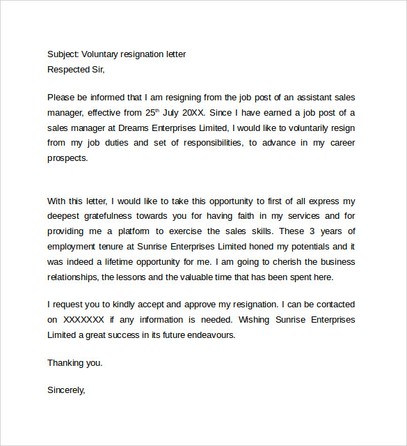 Resignation Letter Format 14 Download Free Documents