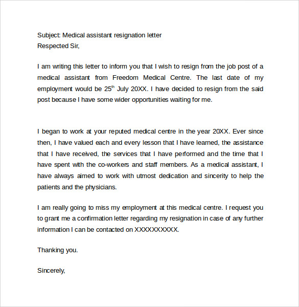 Medical-istant-Resignation-Letter One Week Resignation Letter Template on two weeks notice, sample teacher, for kappa, personal reasons, simple sample,