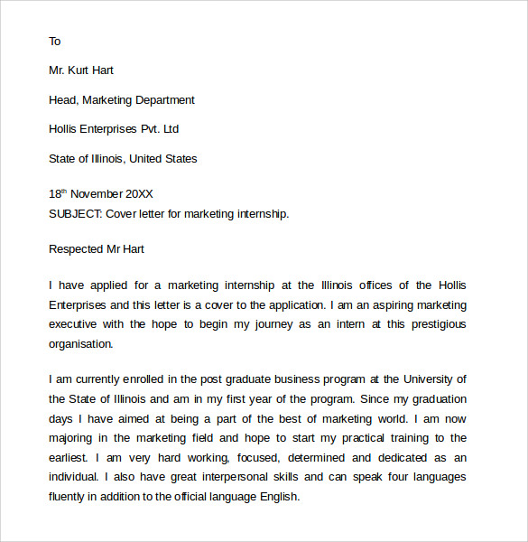 Sample Marketing Cover Letter Example    Download Free