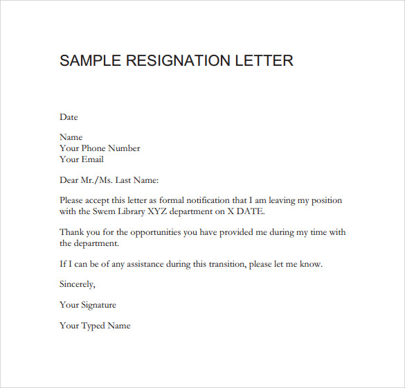 Sample Resignation Letter Format - 14 + Download Free Documents In