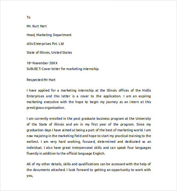 Cover letter for an internship in marketing