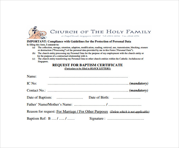 request for baptism certificate
