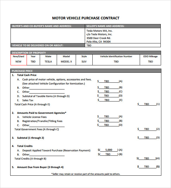 sample vehicle purchase agreement