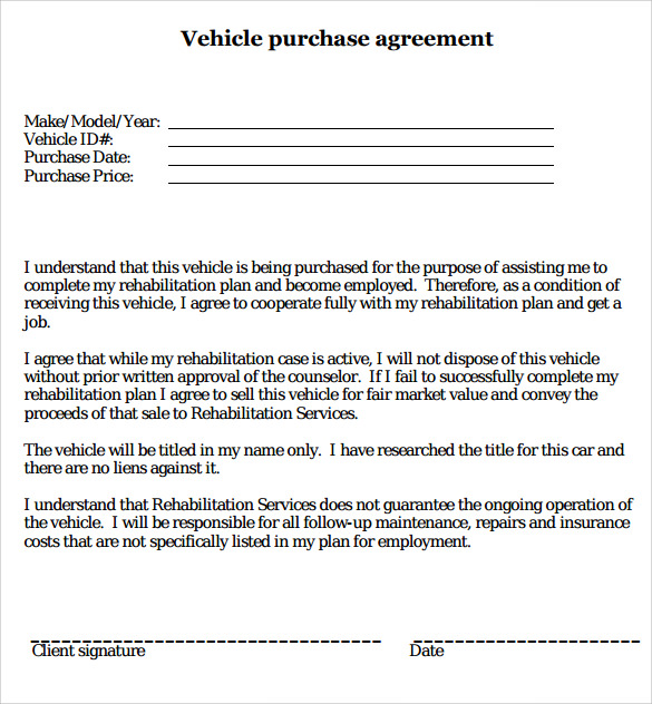 Sample Vehicle Purchase Agreement   Documents In Pdf