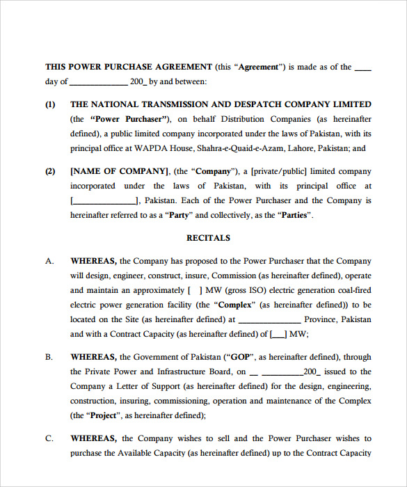 Sample Power Purchase Agreement   Documents In Pdf