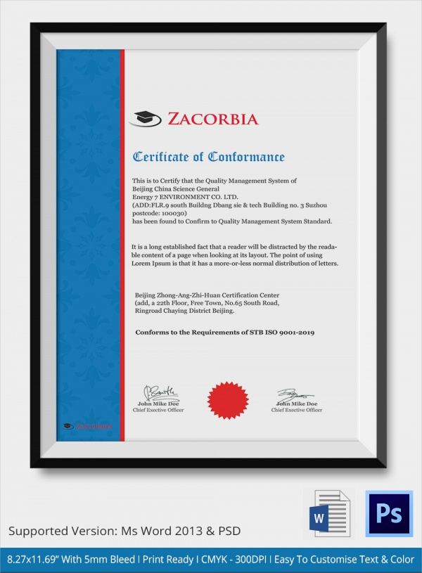 Sample Certificate of Conformance - 19+ Documents in PDF ...
