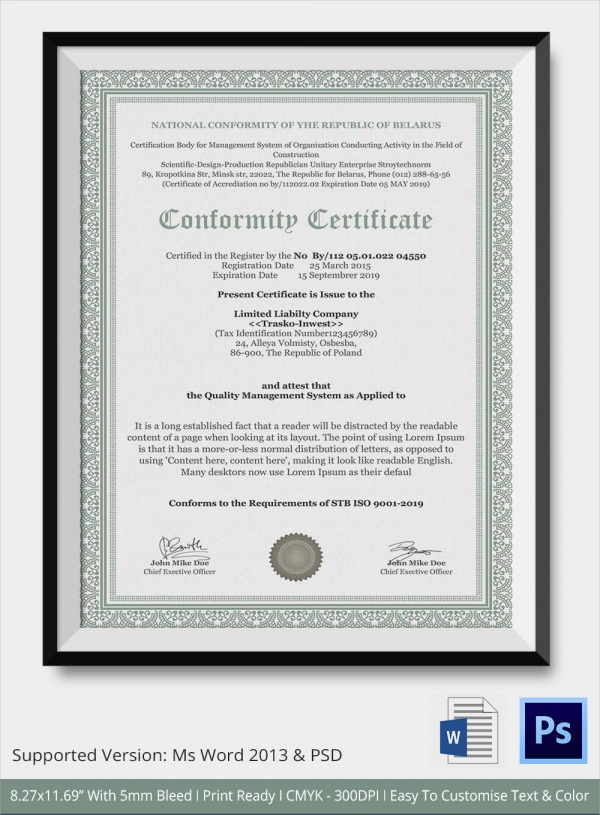 Sample Certificate Of Conformance   Documents In Pdf  Word Psd