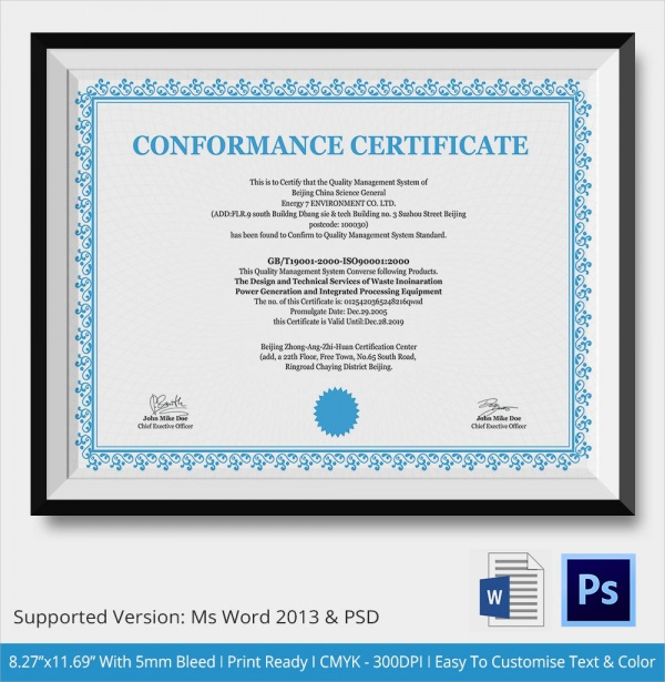 what is a certificate of conformance template