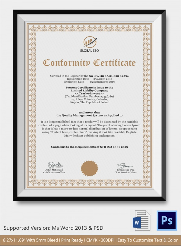 Manufacture-Conformance-Certificate Quality Of Conformance Example on printable certificate, kintana non, generic certificate, aircraft certificate, manufacturer certificate, matrix template api,