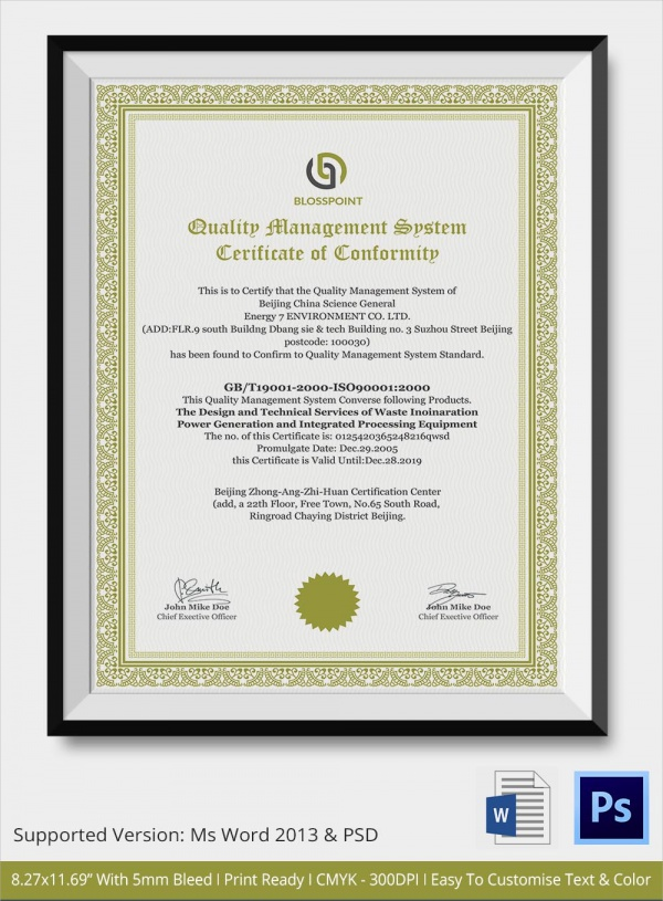 sample certificate of conformance