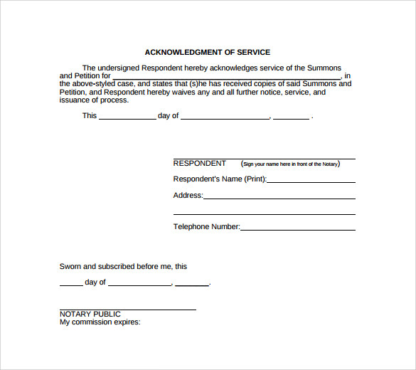 23 Acknowledgement Of Service Form Templates To Download