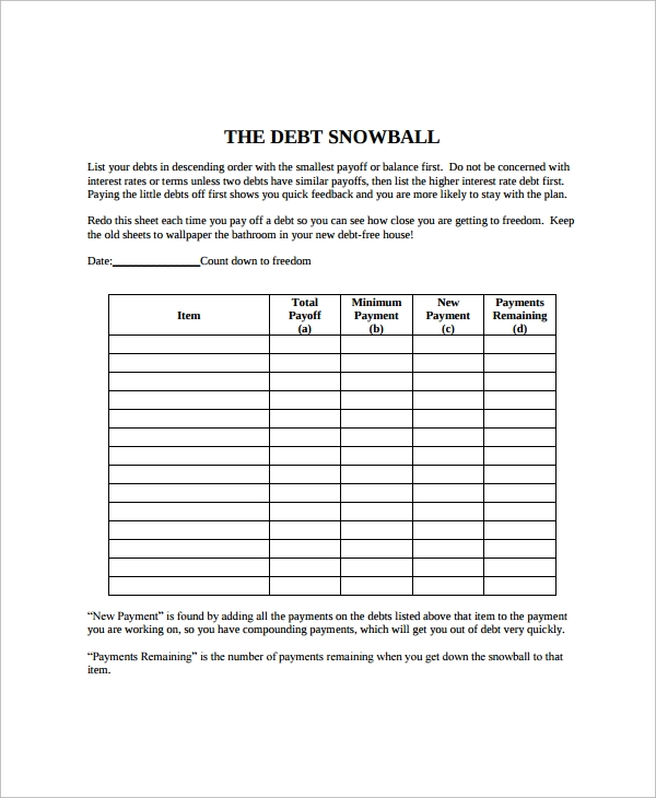 Snowball Debt Payoff Calculator  NinjaTurtletechrepairsCo