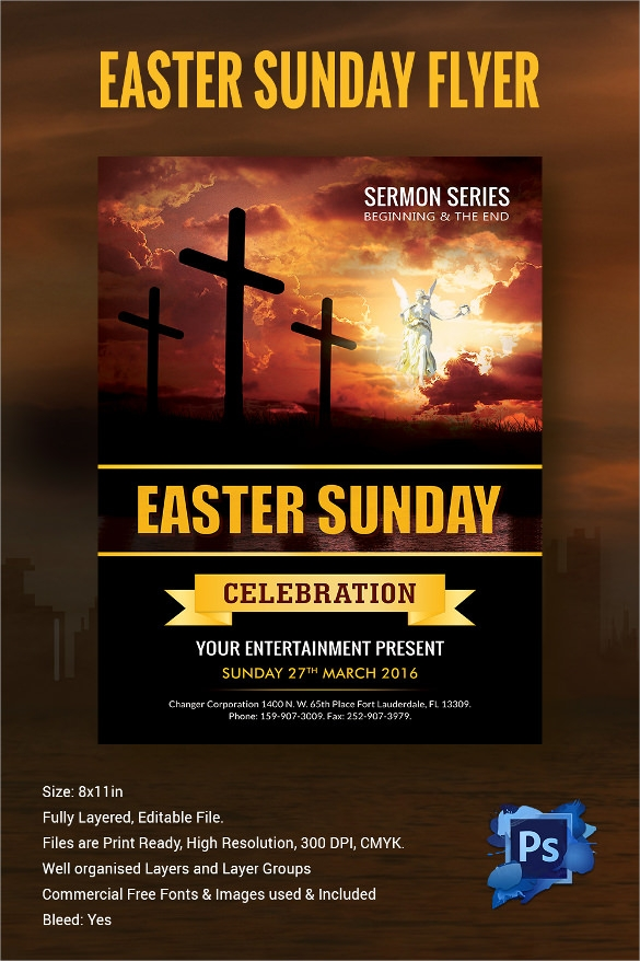 free easter sunday flyer psd