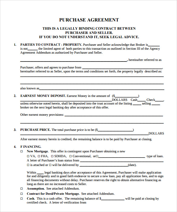 Sample Property Purchase Agreement 7 Examples Format – Purchase Agreements