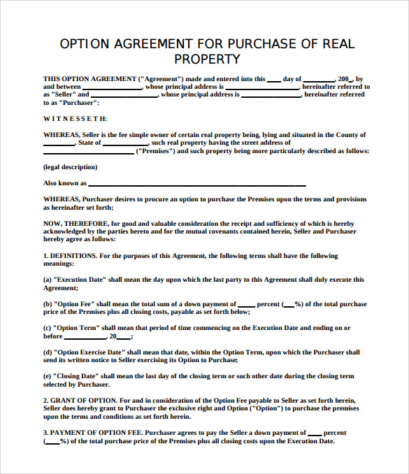Sample Property Purchase Agreement   Examples Format