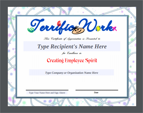 free printable templates for certificates of recognition - 24 sample certificate of appreciation temaplates to