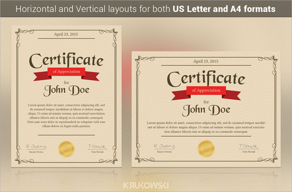 sample certificate of appreciation example