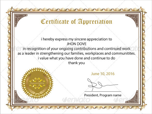 Sample Certificate of Appreciation Temaplate - 12+ Download Documents ...