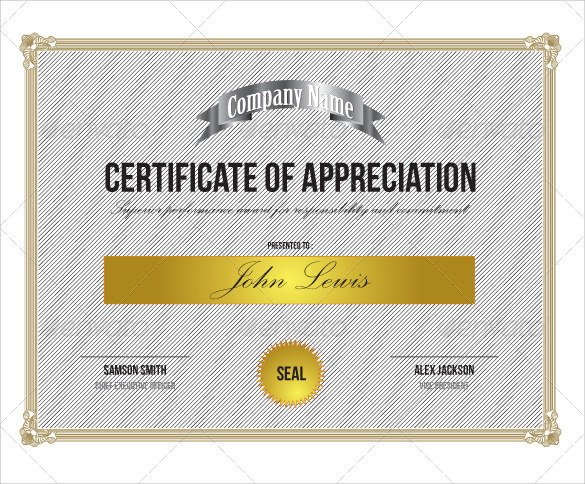 Sample Certificate Of Appreciation PSD  Certificate Of Appreciation Template For Word