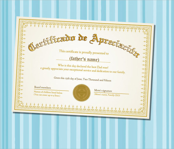 sample certificate of appreciation templates