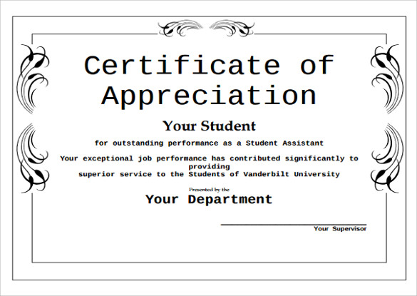 sample certificate of appreciation editable
