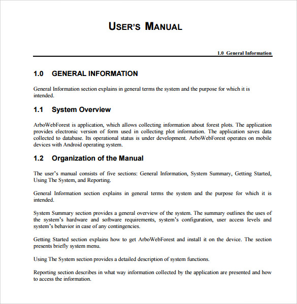 user manual template microsoft word