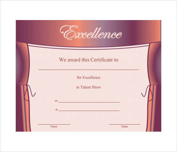 Talent show certificates to print just b cause for Talent show certificate template