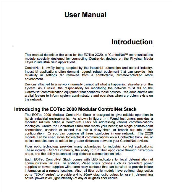 Sample User Manual 9 Documents in PDF – Technical Manual Template
