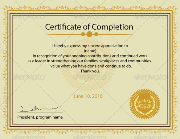 Certificate of completion template 14 free samples examples simple certificate of completion template yadclub Images