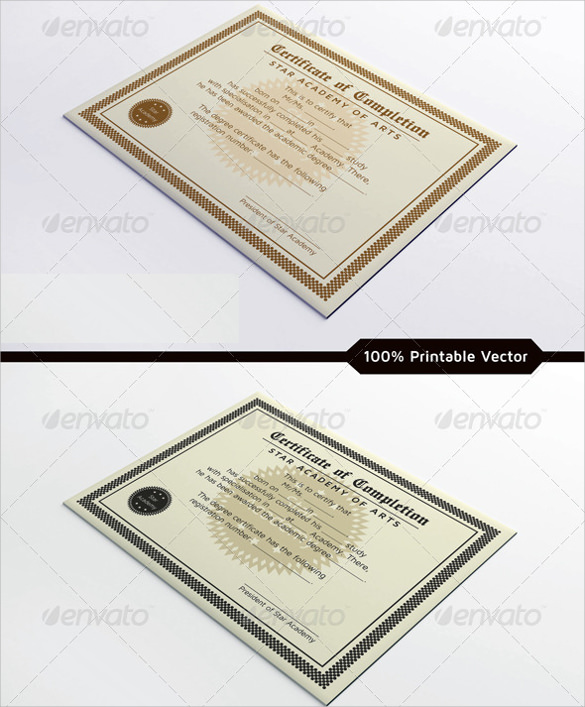 Certificate Of Completion Template   Free Samples Examples