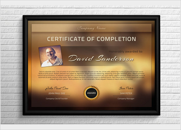 example of certificate of completion template