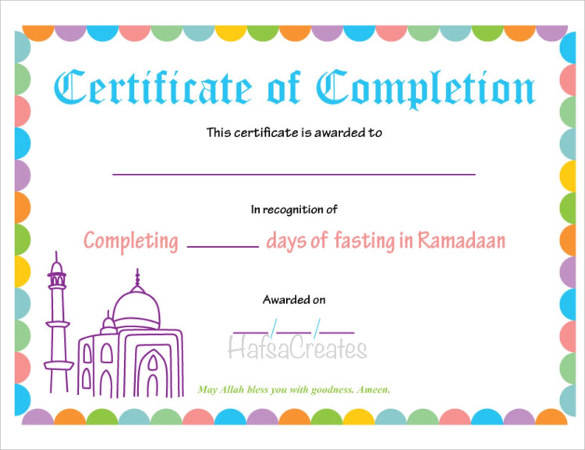 certificate of completion template download