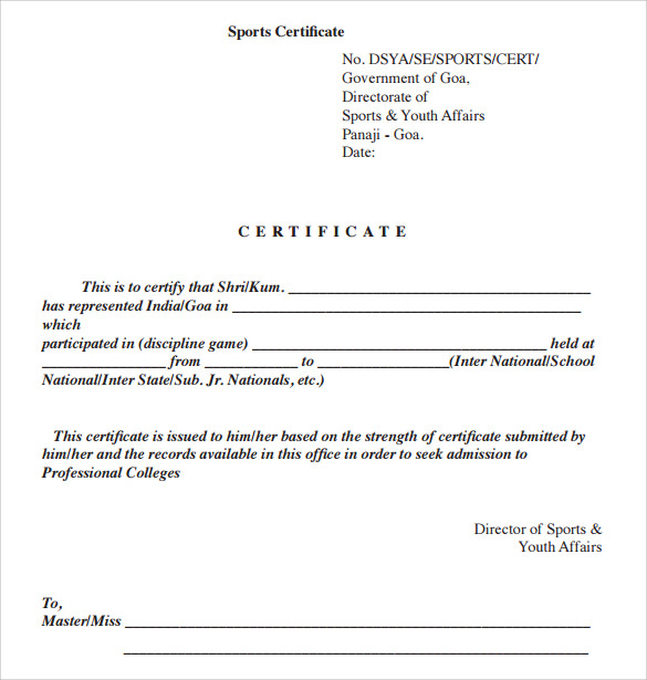 sports certificate templates .