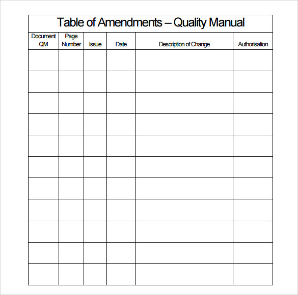 Sample Quality Manual Template   Free Documents In Pdf Word
