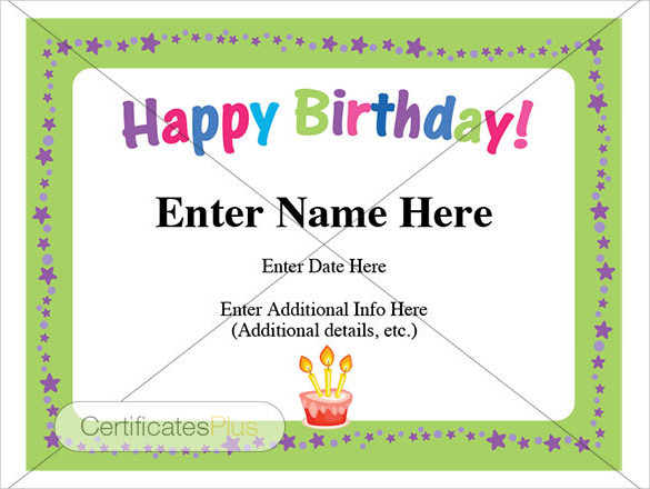 printable birthday certificate templates .