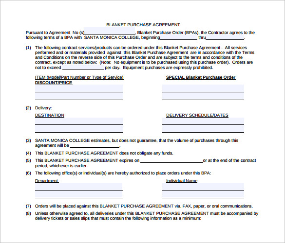 Blanket Purchase Agreement 9 Samples Examples Format