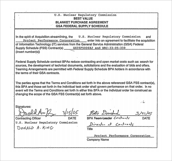 Blanket Purchase Agreement 9 Samples Examples Format – Purchase Agreements