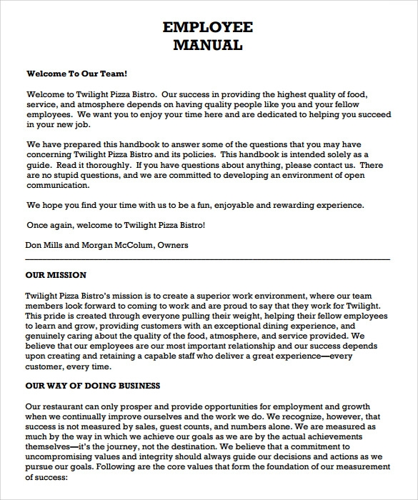 9 sample employee manual templates sample templates for Free employee handbook template for small business