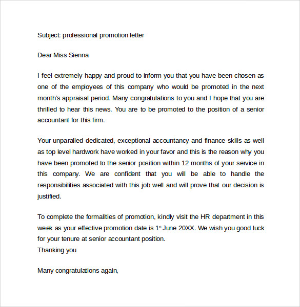 professional promotion letter