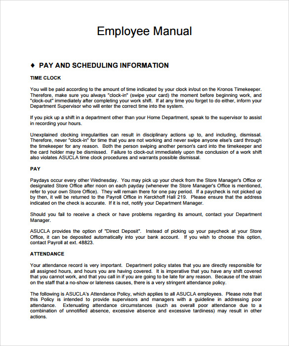 Sample employee manual template 8 documents in pdf for Employee procedure manual template