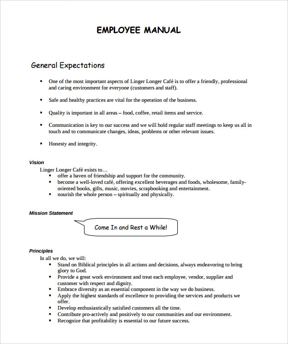 Sample Employee Manual Templates Sample Templates - Employee operations manual template