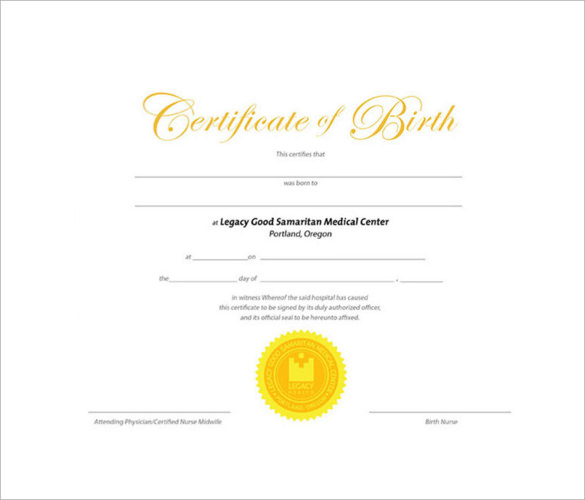 Birth Certificate Template 11 Download Free Documents in PDF Word – Sample Birth Certificate