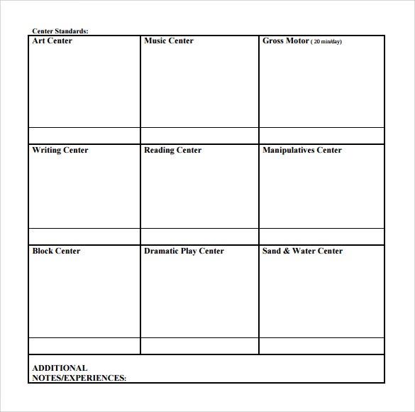 Sample Toddler Lesson Plan   Example Format