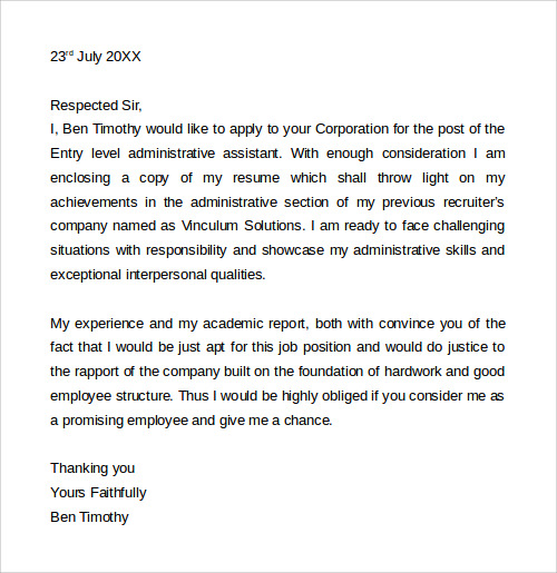 Sample Cover Letter Template   Download Free Documents In Word