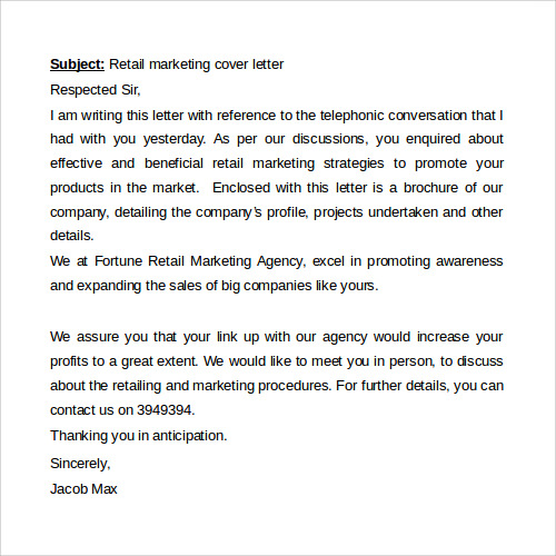 Sample Retail Marketing Cover Letter Word