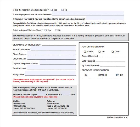 birth certificate tempalte