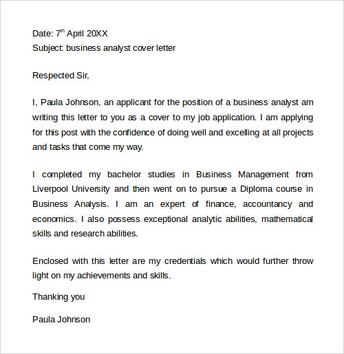 Cover letter business analyst mckinsey for Strategy analyst cover letter