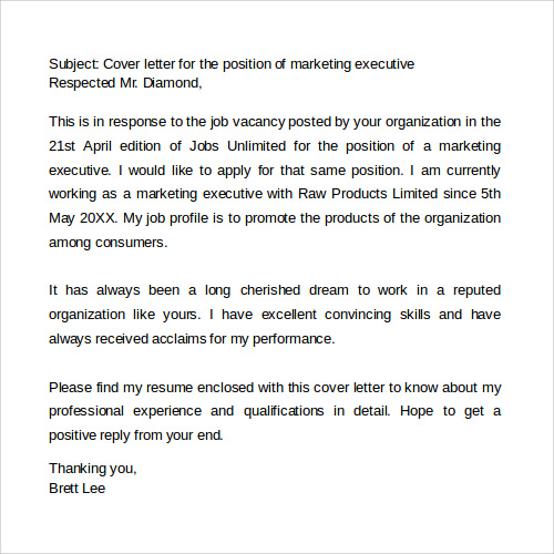 marketing cover letter doc