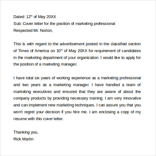 free download marketing cover letter