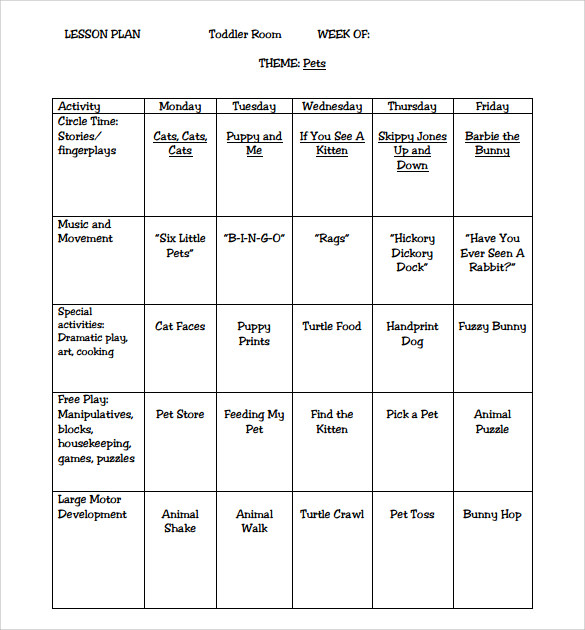sample toddler lesson plan template